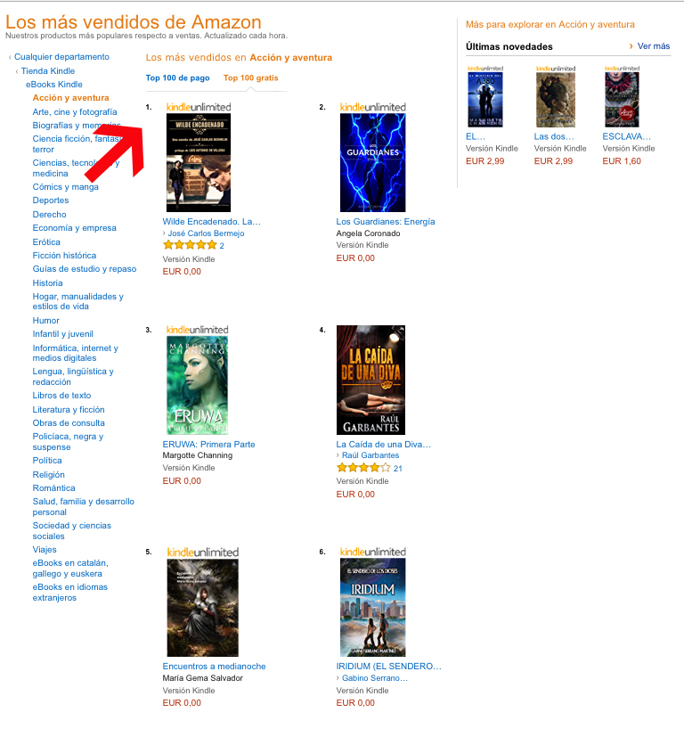 Wilde Encadenado, número 1 en Amazon