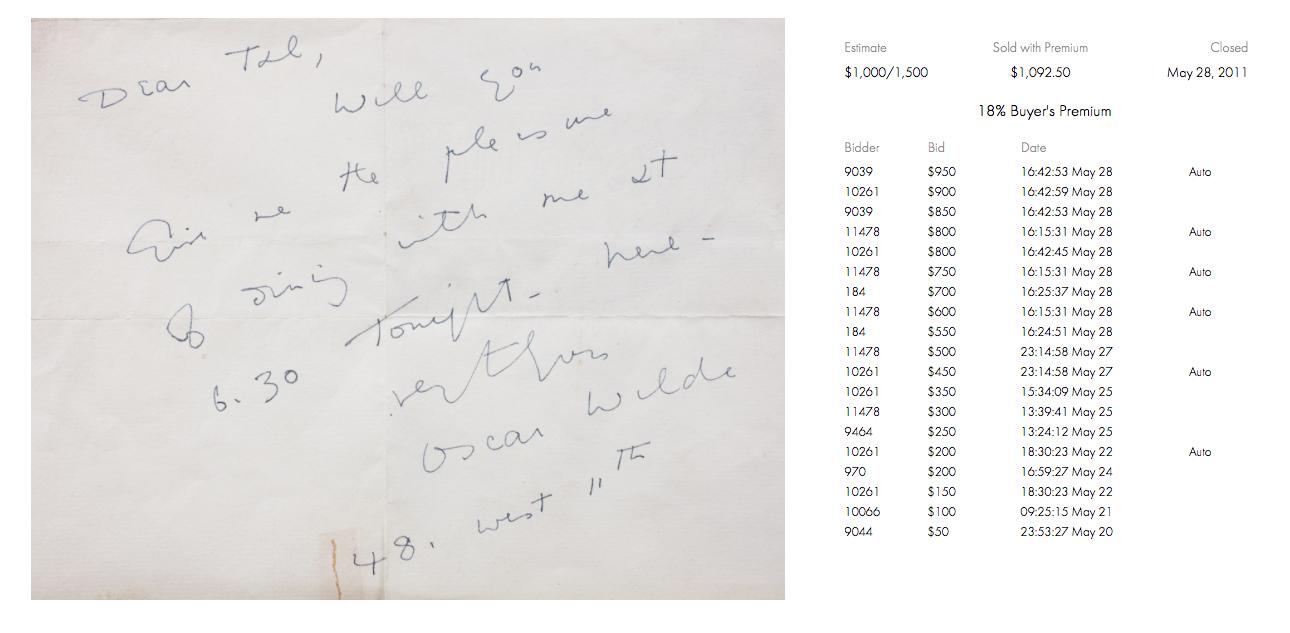 nota manuscrita de Oscar Wilde en Nueva York