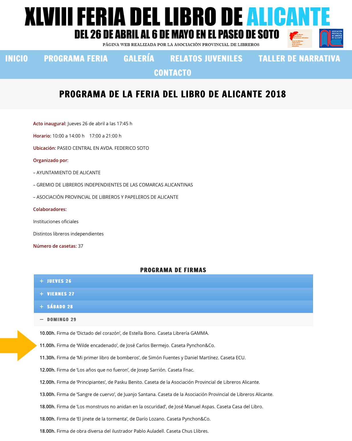 Programa Feria del Libro de Alicante 2018