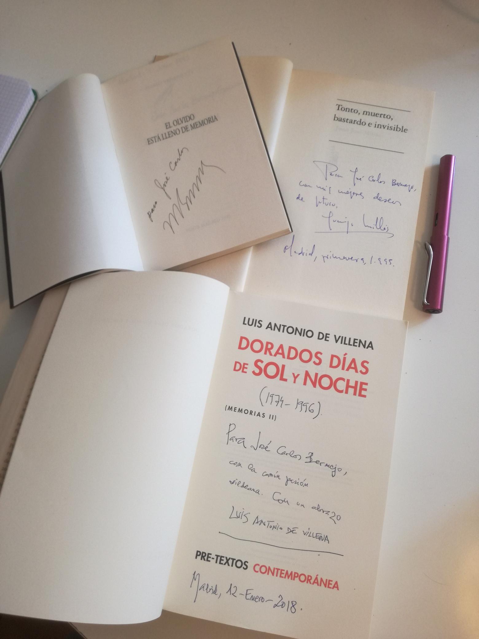 Firmas de autores conocidos en el Día del Libro: Juan José Millás, Luis Antonio de Villena y Mario Benedetti